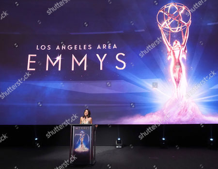Stock Image of Cher Calvin speaks at the 70th Los Angeles Area Emmy Awards, at the Saban Media Center at Television Academy's North Hollywood, Calif. headquarters on