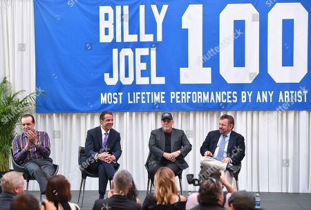 Actor Chazz Palminteri, left, New York Governor Andrew Cuomo, musician Billy Joel and The Madison Square Garden Company executive chairman and CEO James L. Dolan participate in a press conference to celebrate Billy Joel's 100th lifetime concert at Madison Square Garden on in New York