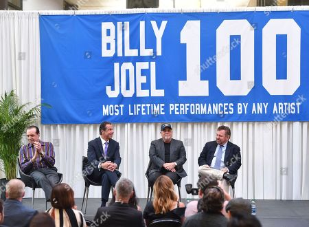 Actor Chazz Palminteri, from left, New York Governor Andrew Cuomo, musician Billy Joel and The Madison Square Garden Company executive chairman and CEO James L. Dolan participate in a press conference to celebrate Billy Joel's 100th lifetime concert at Madison Square Garden on in New York