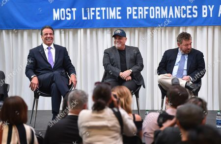 New York Governor Andrew Cuomo, from left, musician Billy Joel and The Madison Square Garden Company executive chairman and CEO James L. Dolan participate in a press conference to celebrate Joel's 100th lifetime concert at Madison Square Garden on in New York