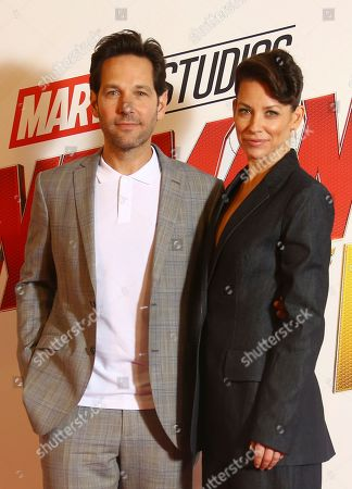 Actors Paul Rudd and Evangeline Lily pose for photographers upon arrival at the photo call of the film 'Ant Man and The Wasp', in a central London hotel