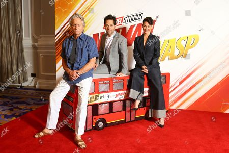 Actors Michael Douglas, Paul Rudd and Evangeline Lily pose for photographers upon arrival at the photo call of the film 'Ant Man and The Wasp', in a central London hotel