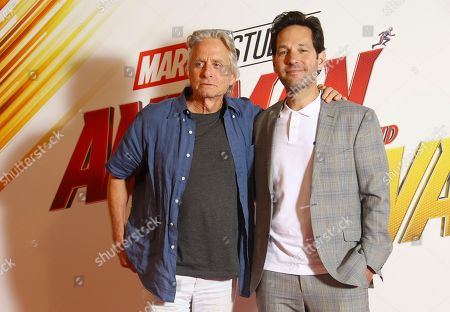 Actors Paul Rudd, Evangeline Lily, Michael Douglas, Director Peyton Reed, Producer Stephen Broussard pose for photographers upon arrival at the photo call of the film 'Ant Man and The Wasp', in a central London hotel