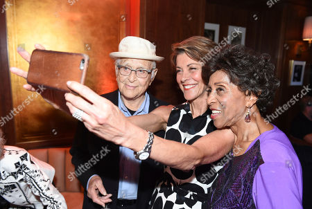 Honoree Norman Lear, from left, Wendie Malick, and Marla Gibbs attend the first-ever AARP TV for Grownups Honors at the Sunset Tower Hotel on in Los Angeles