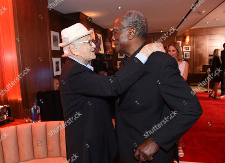 Stock Photo of Honoree Norman Lear, left, and John Amos attend the first-ever AARP TV for Grownups Honors at the Sunset Tower Hotel on in Los Angeles