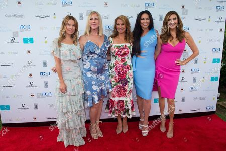 Juliet Angus, from left, Vicki Gunvalson, Jill Zarin, LeeAnne Locken, and Heather McDonald attend Jill Zarin's 6th Annual Luxury Luncheon at Topping Rose House on in Bridgehampton, NY