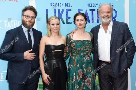 "Seth Rogen, from left, Kristen Bell, Lauren Miller and Kelsey Grammer attend the LA premiere of LA Premiere of ""Like Father"" at ArcLight Hollywood, in Los Angeles, Calif"