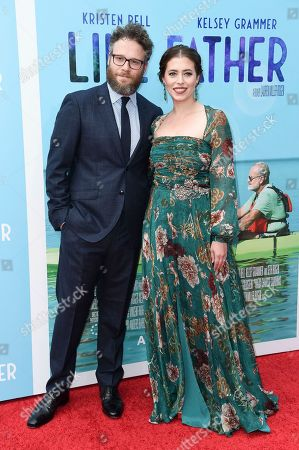 "Seth Rogen, left, and Lauren Miller attend the LA premiere of ""Like Father"" at ArcLight Hollywood, in Los Angeles"