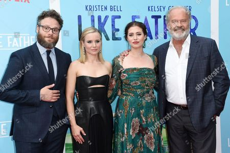 "Seth Rogen, from left, Kristen Bell, Lauren Miller and Kelsey Grammer attend the LA premiere of ""Like Father"" at ArcLight Hollywood, in Los Angeles"