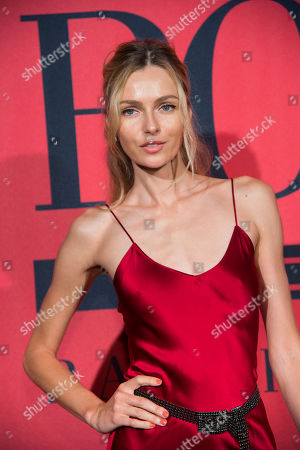 Valentina Zelyaeva attends a Ralph Lauren Fragrances private event hosted with Ansel Elgort at Manhattan Classic Car Club, in New York