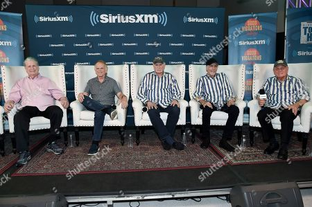 Stock Picture of Brian Wilson, from left, Al Jardine, Mike Love, David Marks and Bruce Johnston participate in SiriusXM's Town Hall with the Beach Boys at Capitol Studios, in Los Angeles, Calif