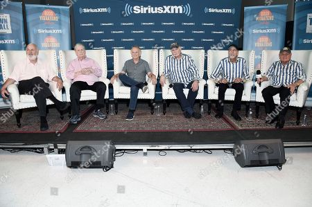 Rob Reiner, from left, Brian Wilson, Al Jardine, Mike Love, David Marks and Bruce Johnston participate in SiriusXM's Town Hall with the Beach Boys at Capitol Studios, in Los Angeles, Calif
