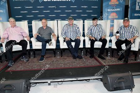 Brian Wilson, from left, Al Jardine, Mike Love, David Marks and Bruce Johnston participate in SiriusXM's Town Hall with the Beach Boys at Capitol Studios, in Los Angeles, Calif