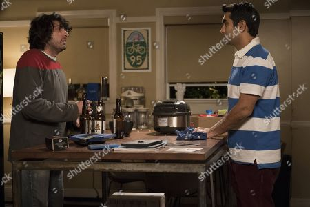 Stock Picture of TJ Miller as Erlich Bachman, Kumail Nanjiani as Dinesh Chugtai