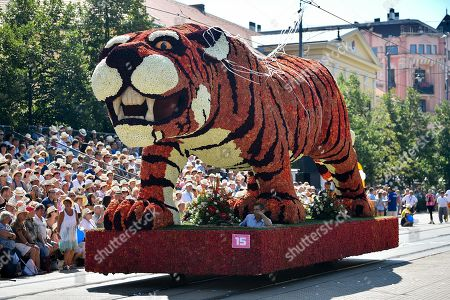 The float called Tiger is seen during the 49th Debrecen Flower Festival in Debrecen, 226 kms east of Budapest, Hungary, 20 August 2018, one of Hungary's major national holidays when Hungarians commemorate the foundation of their state and its founder King St Stephen.