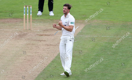 Craig Meschede of Glamorgan celebrates a successful appeal to take the wicket of Paul Collingwood.