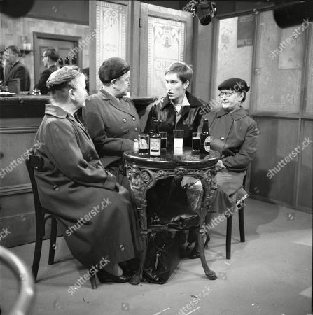 Margot Bryant (as Minnie Caldwell), Violet Carson (as Ena Sharples), Christopher Sandford (as Walter Potts) and Lynne Carol (as Martha Longhurst)