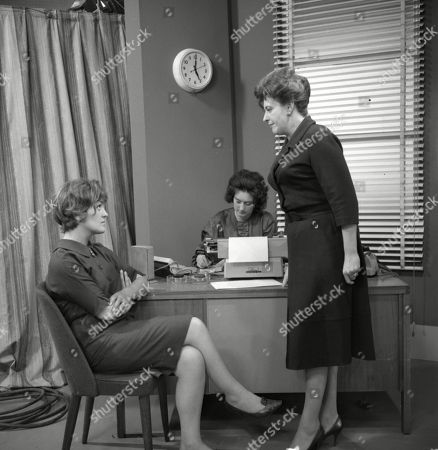 Christine Hargreaves (as Christine Appleby), Louise Jervis (as Secretary) and Pat Phoenix (as Elsie Tanner)