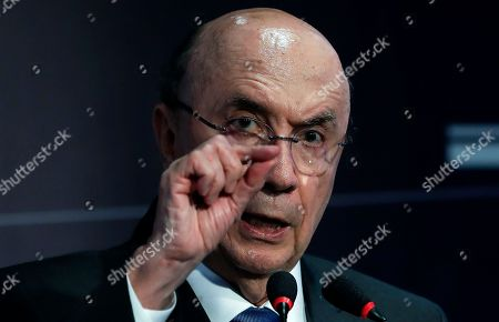 Former finance minister Henrique Meirelles, who is running for president with the Democratic Movement Party, speaks at the Brazilian Association of Infrastructure and Basic Industries (ABDIB) forum, in Sao Paulo, Brazil, . Brazil will elect a new president on Oct. 7