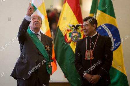 Aloysio Nunes, Fernando Huanacuni. Brazil's Foreign Minister Aloysio Nunes points upwards while speaking with Bolivia's Foreign Minister Fernando Huanacuni, in La Paz, Bolivia, . Nunes, who is on a one-day visit to Bolivia, was decorated with La Gran Cruz del Condor de Los Andes