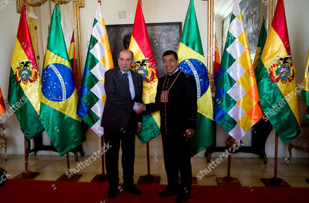 Aloysio Nunes, Fernando Huanacuni. Brazil's Foreign Minister Aloysio Nunes, left, and Bolivia's Foreign Minister Fernando Huanacuni, shakes hands as they pose for photos in La Paz, Bolivia, . Nunes is on a one-day visit to Bolivia