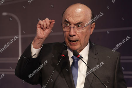 Candidate for the Presidency of Brazil for the Movimiento Democratico Brasileño (MDB),  Henrique Meirelles, speaks during an event of the Brazilian Association of Infrastructure and Base Industries (Abdib) held in the city of Sao Paulo, Brazil, 20 August 2018. Brazilian presidential candidates present proposals on infrastructure for Brazil ahead of the elections due for next October.