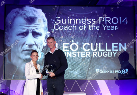 Guinness PRO14 Coach of the Year Award winner Leo Cullen of Leinster with Kate Moore, Sponsorship Manager for Diageo