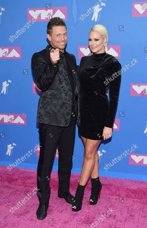 "Michael Mizanin, Maryse Quellet. Michael "" Mike Mizanin "" Mizanin, left, and Maryse Quellet arrive at the MTV Video Music Awards at Radio City Music Hall, in New York"