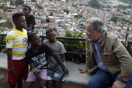Minister of Public Security of Brazil Raul Jungmann (R) visits the 13th commune of Medellin, Colombia, 20 August 2018. Jungmann makes an official visit to Colombia to examine how the country is confronting violence through social projects.