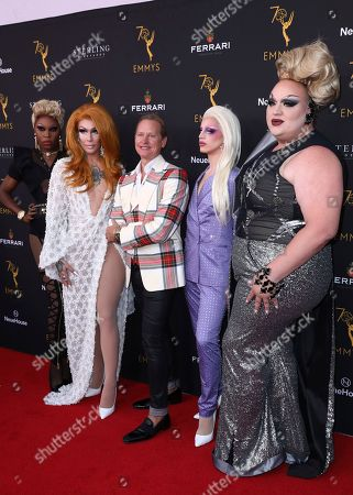 Asia O'Hara, Kameron Michaels, Carson Kressley, Aquaria, Eureka O'Hara. Asia O'Hara, from left, Kameron Michaels, Carson Kressley, Aquaria, and Eureka O'Hara attend the Television Academy's 2018 Performers Peer Group Celebration of the 70th Emmy Awards at NeueHouse Hollywood, in Los Angeles