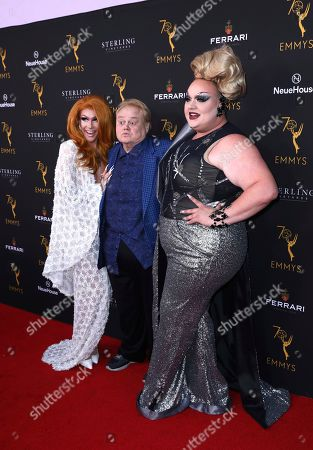 Kameron Michaels, Louie Anderson, Eureka O'Hara. Kameron Michaels, from left, Louie Anderson, and Eureka O'Hara attend the Television Academy's 2018 Performers Peer Group Celebration of the 70th Emmy Awards at NeueHouse Hollywood, in Los Angeles