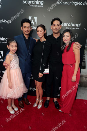 Megan Liu, John Cho Sara Sohn, Joseph Lee and Michelle La attend the special screening of Screen Gems thriller SEARCHING at ArcLight Hollywood, sponsored by Adobe.