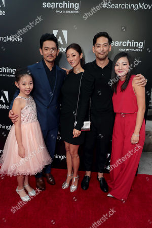 Stock Photo of Megan Liu, John Cho Sara Sohn, Joseph Lee and Michelle La attend the special screening of Screen Gems thriller SEARCHING at ArcLight Hollywood, sponsored by Adobe.