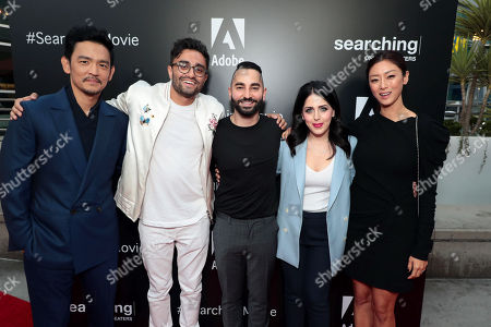 John Cho, Aneesh Chaganty, Director/Writer, Sev Ohanian, Writer/Producer, Natalie Qasabian, Producer, and Sara Sohn attend the special screening of Screen Gems thriller SEARCHING at ArcLight Hollywood, sponsored by Adobe.