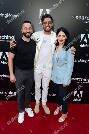 Sev Ohanian, Writer/Producer, Aneesh Chaganty, Director/Writer, Natalie Qasabian, Producer, attend the special screening of Screen Gems thriller SEARCHING at ArcLight Hollywood, sponsored by Adobe.
