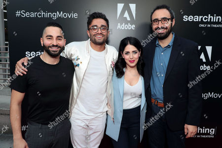 Stock Photo of Sev Ohanian, Writer/Producer, Aneesh Chaganty, Director/Writer, Natalie Qasabian, Producer, and Adam Sidman, Producer, attend the special screening of Screen Gems thriller SEARCHING at ArcLight Hollywood, sponsored by Adobe.