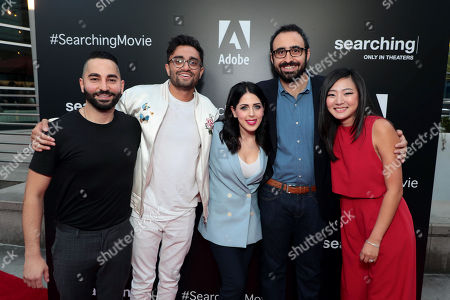Stock Picture of Sev Ohanian, Writer/Producer, Aneesh Chaganty, Director/Writer, Natalie Qasabian, Producer, Adam Sidman, Producer, and Michelle La attend the special screening of Screen Gems thriller SEARCHING at ArcLight Hollywood, sponsored by Adobe.