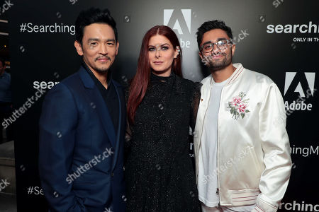 John Cho, Debra Messing and Aneesh Chaganty, Director/Writer, attend the special screening of Screen Gems thriller SEARCHING at ArcLight Hollywood, sponsored by Adobe.