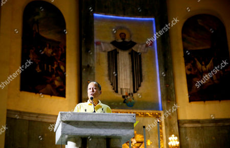 """Stock Picture of Former President Benigno Aquino III addresses supporters following a Mass in commemoration of the Aug. 21, 1983 Manila International Airport assassination of Aquino III's father, opposition Senator Benigno Aquino Jr. at Sto. Domingo church in suburban Quezon city, north of Manila, Philippines . Aquino Jr.'s assassination sparked series of protests that eventually toppled the late dictator Ferdinand Marcos from 20-year-rule and helped install his widow Corazon """"Cory"""" Aquino to the presidency via People Power revolt"""