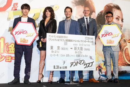 (L to R) Taishi Nakagawa, Evangeline Lilly, Paul Rudd, Peyton Reed and Daisuke Miyagawa