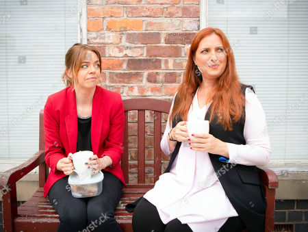 Stock Image of Ep 9554 Friday 7th September 2018 - 1st Ep  When Toyah Battersby, as played by Georgia Taylor, accidentally locks herself out of the flat in her pyjamas, she's panic stricken and explains to Peter that it's her first day in her new job at the medical centre. Peter takes pity on her and lends her some of Tracy's old clothes. Toyah starts work as a counsellor. When Moira, as played by Louisa Patikas, compliments her on her new look, Toyah masks her discomfort.