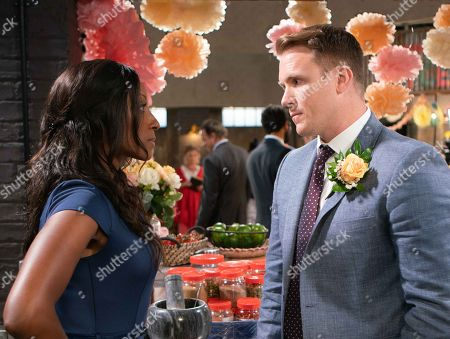 Ep 9550 Monday 3 September 2018 - 1st Ep  Imran brings unsuspecting Angie Appleton, as played by Victoria Ekanoye, into Speed Daal. As Mary and the guests reveal the big surprise, a gobsmacked Angie orders Jude Appleton, as played by Paddy Wallace, into the kitchen. Angie angrily reminds Jude they agreed to split up. Jude lies that Mary sprang the ceremony on him today and it was too late to stop it. Jude implores Angie to play along for Mary's sake and look on it as a lark.