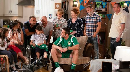Stock Picture of Ep 9550 Monday 3 September 2018 - 1st Ep  Kevin Webster, as played by Michael Le Vell, brings Jack Webster, as played by Kyran Bowes, home in his wheelchair. As everybody makes a fuss of him, Jack's underwhelmed and Fiz worries they've misjudged his mood. Tommy Orpington, as played by Matt Milburn, makes an entrance in his full County kit at Jack's party. All the kids flock to him but Jack's tired and heads to bed. The party breaks up. With Fiz Stape, as played by Jennie McAlpine, Sally Metcalfe, as played by Sally Dynevor, Tim Metcalfe, as played by Joe Duttine, Tyrone Dobbs, as played by Alan Halsall.