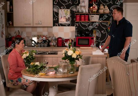 Ep 9547 Wednesday 29th August 2018 - 2nd Ep When Jude Appleton, as played by Paddy Wallace, surprises Angie Appleton, as played by Victoria Ekanoye, with a romantic meal for two she rushes out. Jude catches Mary and Tracy Barlow planning the vow renewal. Knowing where Angie's head is at will Jude tell Mary to stop?