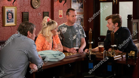 Ep 9553 Wednesday 5th September 2018 - 2nd Ep  As Daniel Osbourne, as played by Rob Mallard, Ken, Beth Sutherland, as played by Lisa George, and Kirk Sutherland, as played by Andy Whyment, debate the shape of the earth, Sinead's offended and reckons Daniel finds her family stupid.