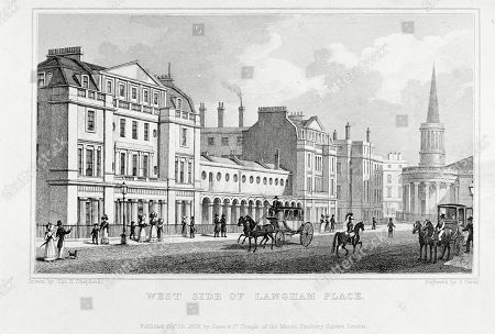 Stock Photo of West Side of Langham Place London with All Souls' Church On the Right. . Engraving by S Owen After A Drawing by Thomas H Shepherd