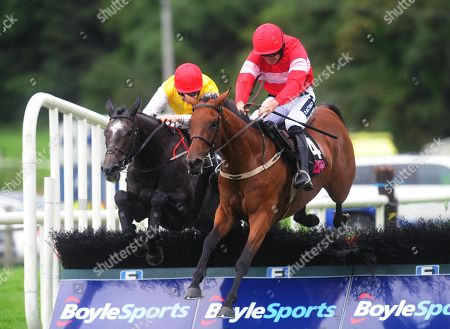 Sligo ELGANTINE DU SEUIL & Ruby Walsh (right) jump the last to win the Hop House 13 Lager Mares Maiden Hurdle from MISTY MOUNTAIN & Liam McKenna (left)