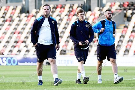 Notts County Manager Kevin Nolan and players arrive.