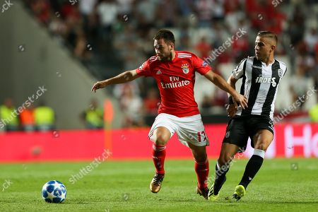 SL Benfica´s Andrija Zivkovic (L) in action agaist PAOK FC's Dimitris Limnios (R) during their UEFA Champions League playoff first leg soccer match at Luz Stadium, Lisbon, Portugal, 21 August 2018.