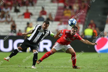 SL Benfica´s Vieirinha (R) in action agaist PAOK FC's Andrija Zivkovic (L) during their UEFA Champions League playoff first leg soccer match at Luz Stadium, Lisbon, Portugal, 21 August 2018.